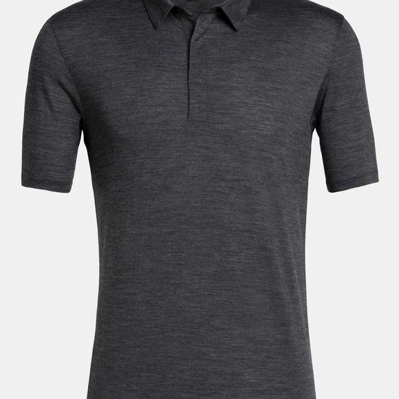 Icebreaker Mens Solace Short Sleeve Polo Shirt Black Heather