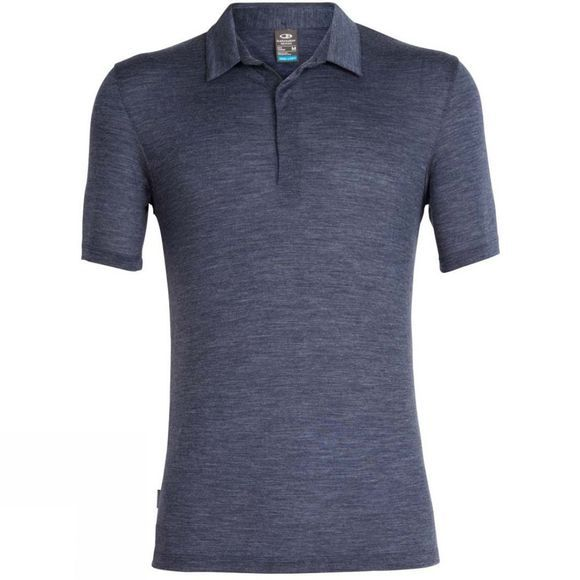 Icebreaker Mens Solace Short Sleeve Polo Shirt Midnight Navy Heather