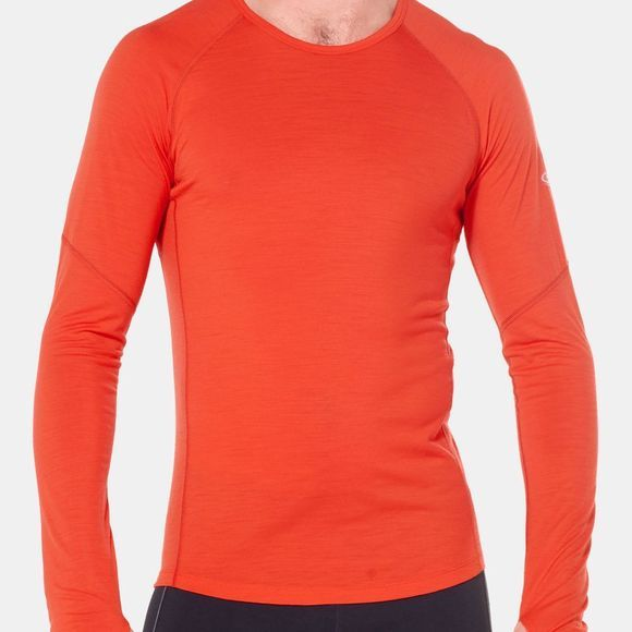 Icebreaker Mens 150 Zone Long Sleeve Crew Top Chili Red/Monsoon
