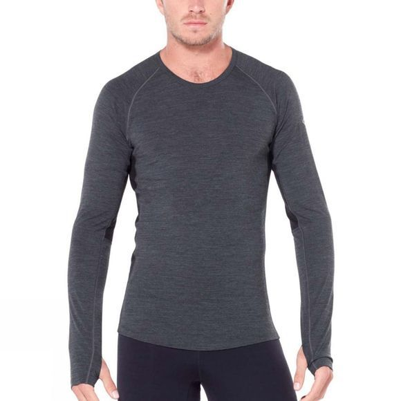 Icebreaker Mens 200 Zone Long Sleeve Crew Top Jet Heather/Black