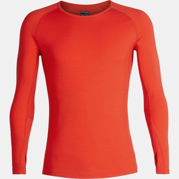 Icebreaker Mens 200 Zone Long Sleeve Crew Top Chilli Red