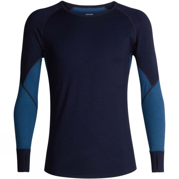 Icebreaker Mens 260 Zone Long Sleeve Crewe Top Midnight Navy/ Prussian Blue/ Chilli Red
