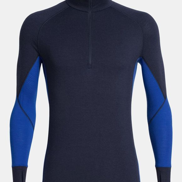 Icebreaker Mens 260 Zone Long Sleeve Half Zip Top Midnight Navy/Surf
