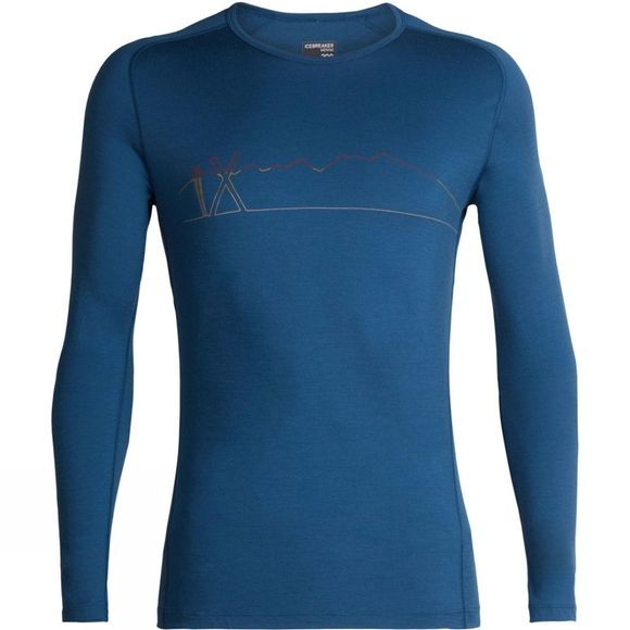 Icebreaker Mens 200 Oasis Deluxe Raglan Long Sleeve Crew Single Line Ski Top Prussian Blue