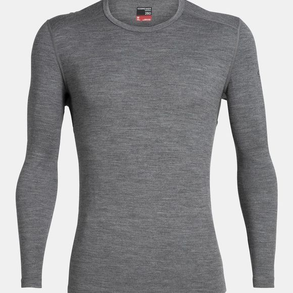 Icebreaker Mens 260 Tech Long Sleeve Crew Top Gritstone Heather