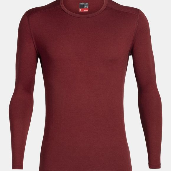 Icebreaker Mens 260 Tech Long Sleeve Crew Top Cabernet