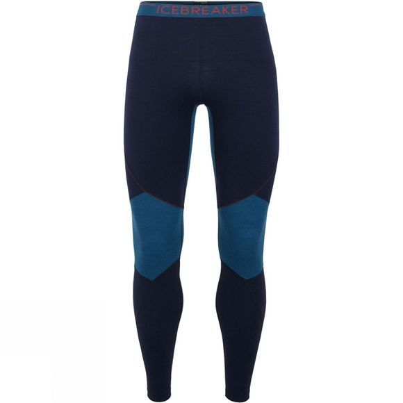 Icebreaker Mens 260 Zone Legging Tights Midnight Navy/ Prussian Blue/ Chilli Red