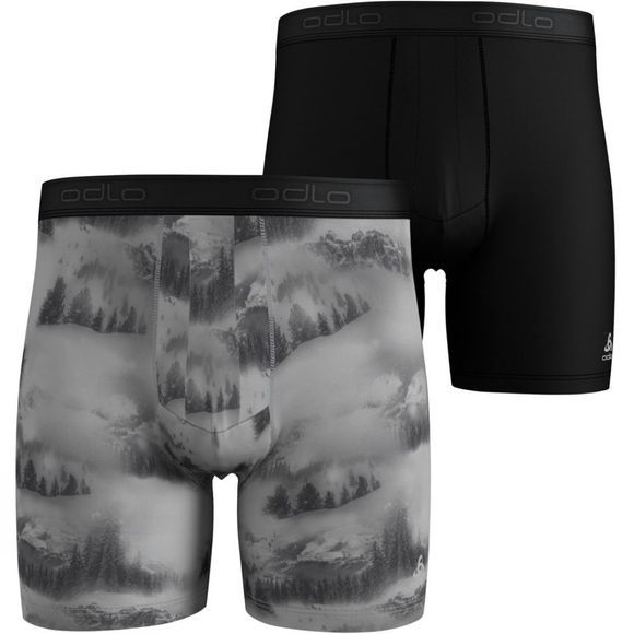 Odlo Mens Active Everyday Boxers 2-Pack White - Landscape AOP FW19 - Black