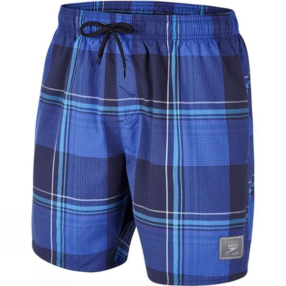 "Speedo Printed Check Leisure 16"" Watershort Speedo Navy/Deep Peri"