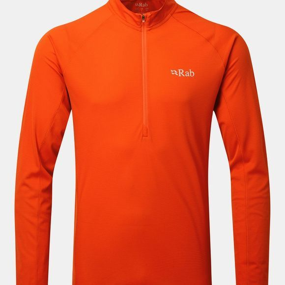 Rab Mens Pulse Long Sleeve Zip Tee Firecracker