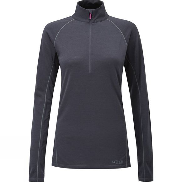 Rab Women's Merino+ 160 Long Sleeve Zip Ebony