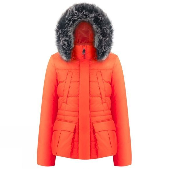 Poivre Blanc Women's Danielle Short Faux Fur Parka Clementine Orange