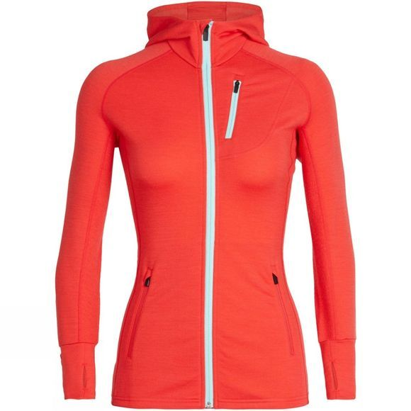 Icebreaker Women's Quantum Long Sleeve Hood Ember / Aqua Splash