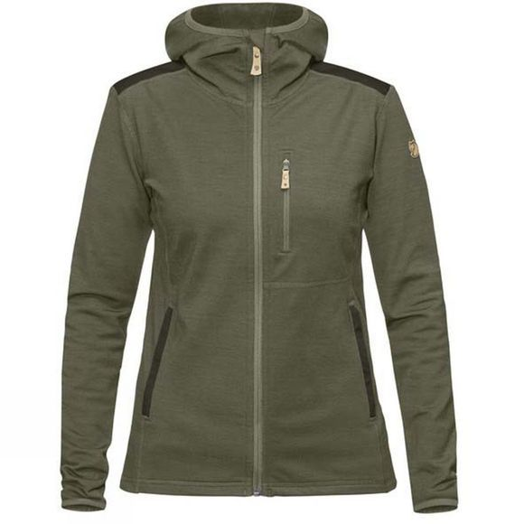 Fjallraven Womens Keb Fleece Hoodie Laurel Green-Deep Forest