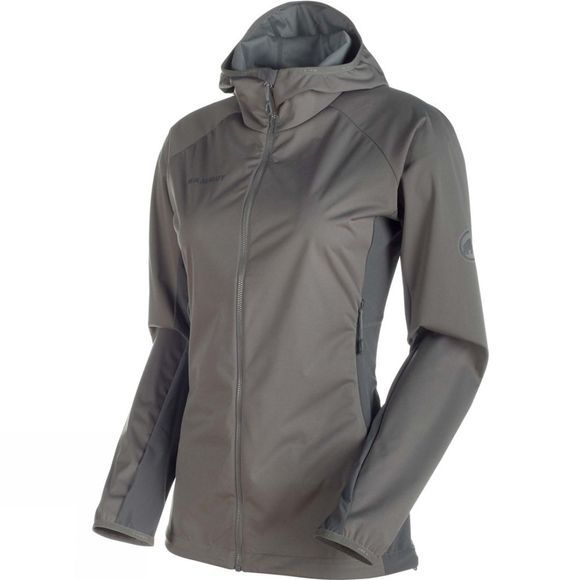 Mammut Womens Keiko Light SO Hooded Jacket Titanium/Dark Titanium