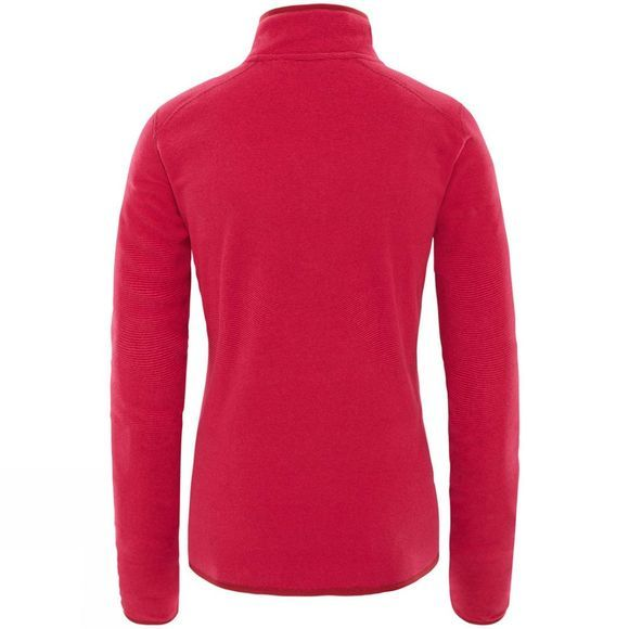 The North Face Women's 100 Glacier 1/4 Zip Fleece Rumba Red/ Cerise Pink Stripe