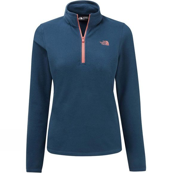 The North Face Womens Cornice II 1/4 Zip Fleece Blue Wing Teal/Spiced Coral