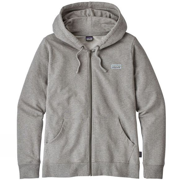 Patagonia Womens Pastel P-6 Label Midweight Full-Zip Hoody Feather Grey