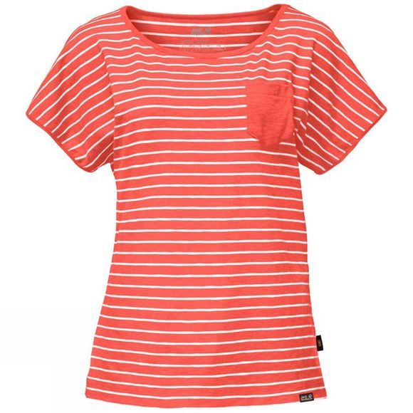 Jack Wolfskin Womens Travel Striped Tee Hot Coral Stripes