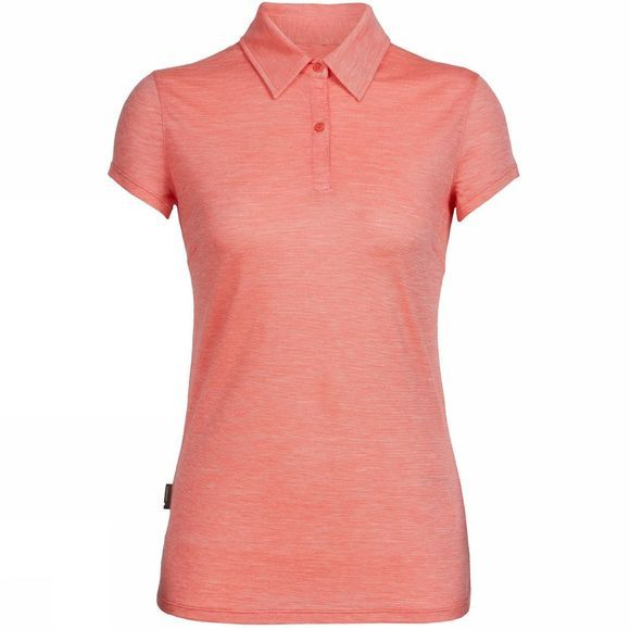 Icebreaker Womens Sphere SS Polo Tulip/Snow/Stripe