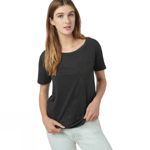 Tentree Womens Pocket Short Sleeve Tee Meteorite Black Heather