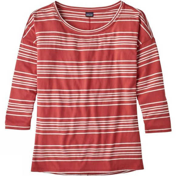 Patagonia Womens Shallow Seas 3/4 Length Sleeve Top Lightning Stripe Static Red