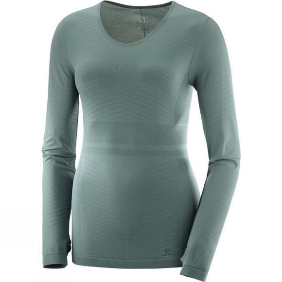 Salomon Womens Elevate Move'On Ls Tee Solid Balsam Green