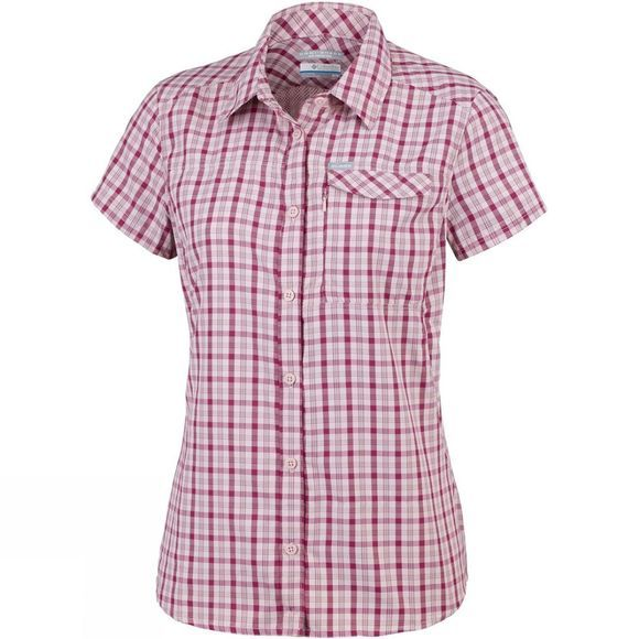 Columbia Womens Silver Ridge 2.0 Plaid Short Sleeve Mineral Pink Gingham