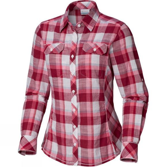 Columbia Women's Camp Henry Long Sleeve Shirt Wine Berry Block Plaid