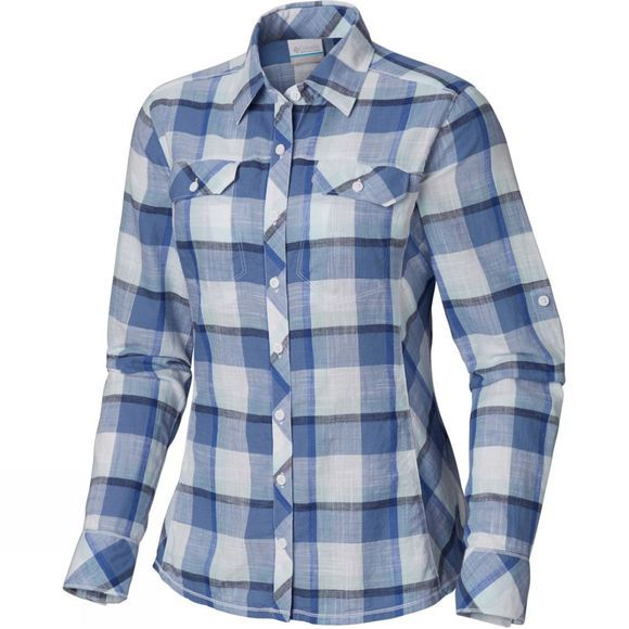 Columbia Women's Camp Henry Long Sleeve Shirt Blue Dusk Block Plaid