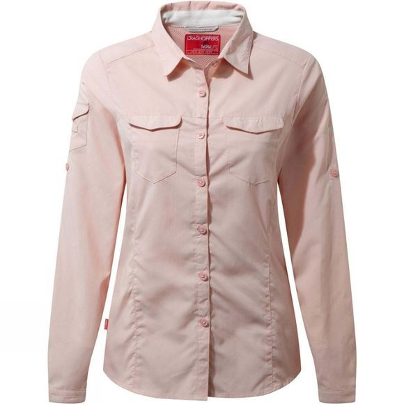 Craghoppers Womens NosiLife Adventure Long Sleeve Shirt Blossom Pink