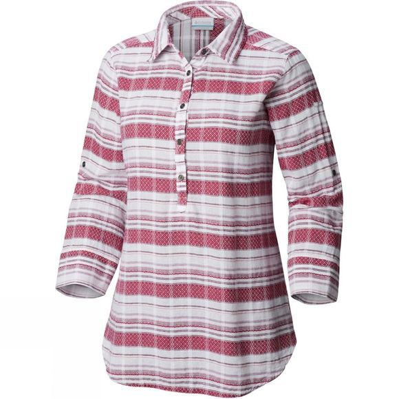 Columbia Womens Summer Ease Popover Tunic Wine Berry Stripe