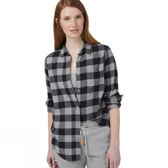 Tentree Womens Lush Button Up Long Sleeve Shirt Alsek Plaid Meteorite Black