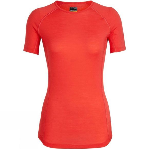 Icebreaker Womens 150 Zone SS Crewe Top Ember / Snow