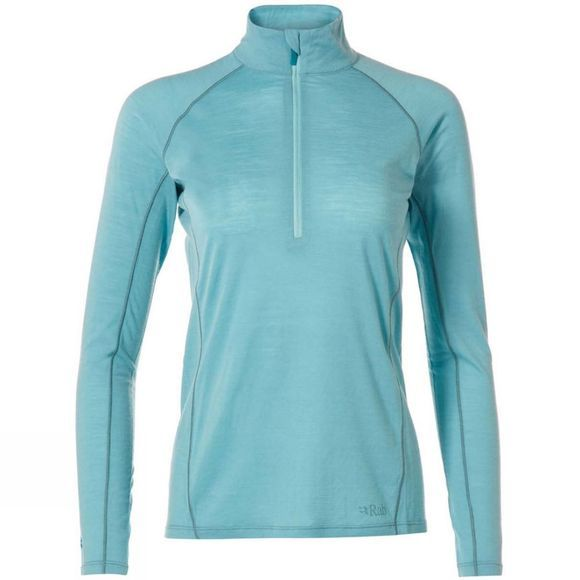 Rab Womens Merino+ 120 Long Sleeve Zip Top Cool Grey