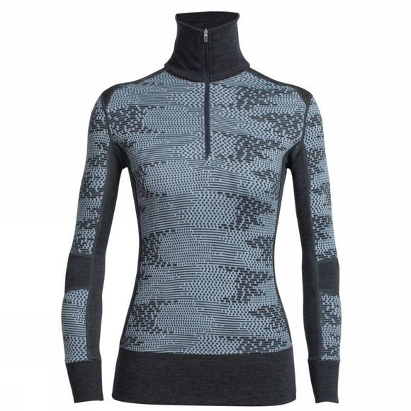 Icebreaker Womens Affinity Long Sleeve Half Zip Flurry Ice Blue/ Jet Heather