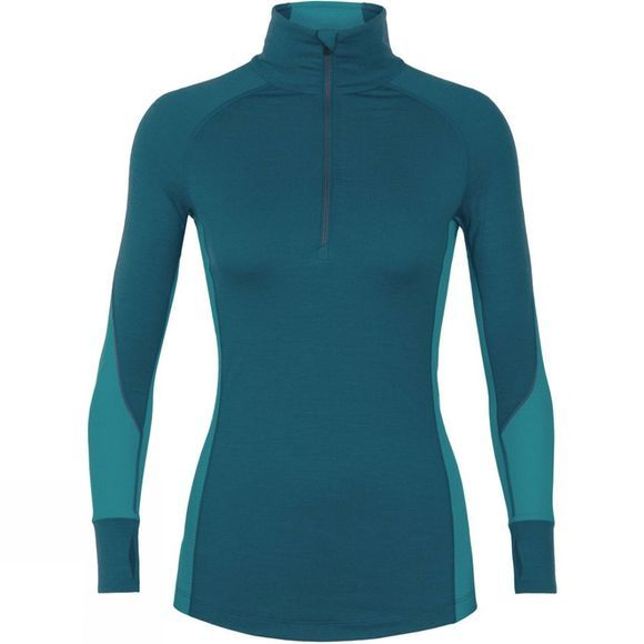 Icebreaker Womens 260 Zone Long Sleeve Half Zip Top Kingfisher/ Arctic Teal/ Prism