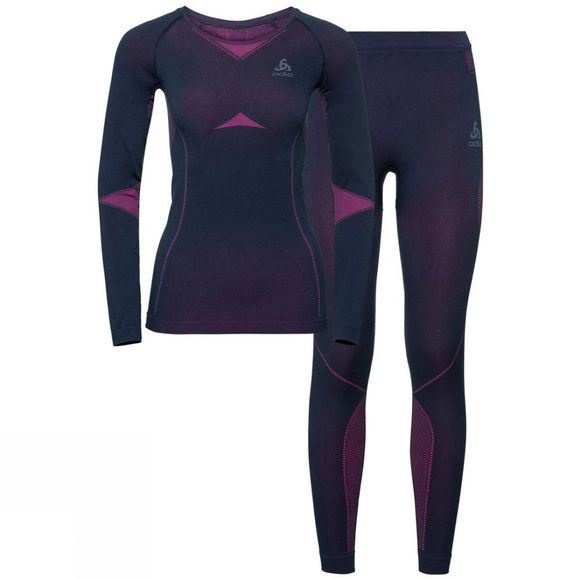 Odlo Womens Performance Evolution Warm Base Layer Set Peacoat - Pink Glo