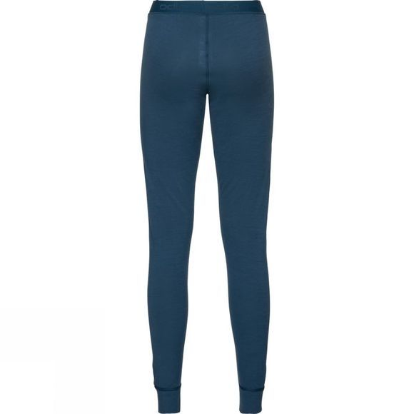 Odlo Womens Natural 100% Merino Warm Base Layer Pants Blue Wing Teal