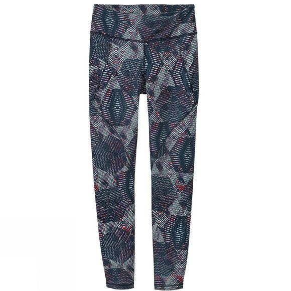 Patagonia Womens Centered Tights Tech Hex Navy Print