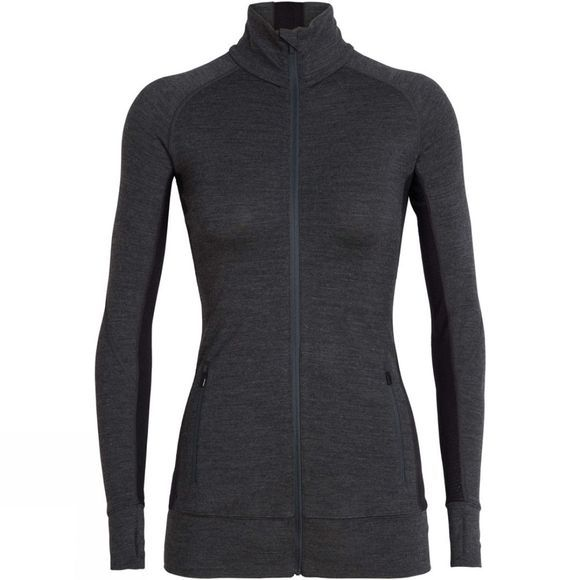 Icebreaker Womens Fluid Zone Long Sleeve Zip Top Jet Heather / Black