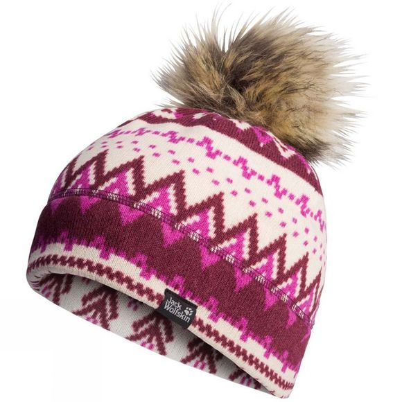 Jack Wolfskin Womens Scandic Cap Garnet Red All Over