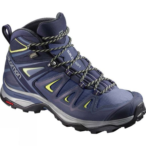 Salomon Womens X Ultra 3 Wide Mid Gtx Crown Blue/Evening Blue/Sunny Lime