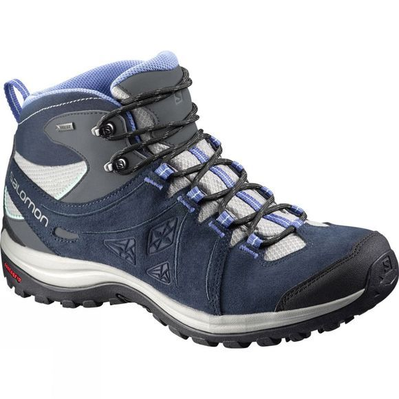 Salomon Women's Ellipse 2 Mid Leather Gore-Tex Shoe Titanium/Deep Blue/Petunia Blue