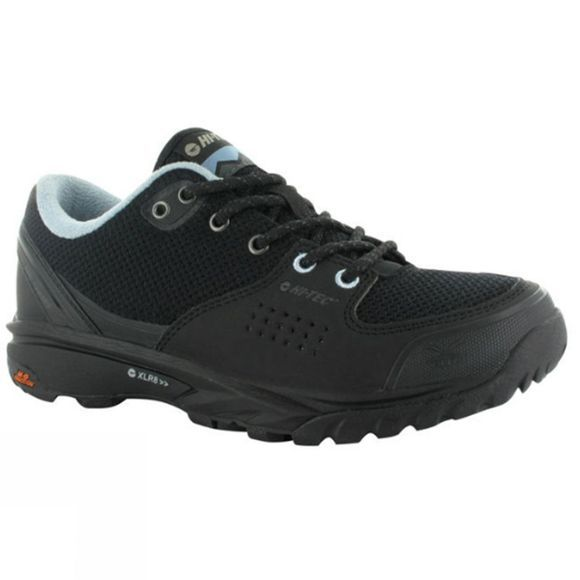 Hi-Tec Womens V-Lite Wild-Life Low I Waterproof Shoe Black/Forget me not