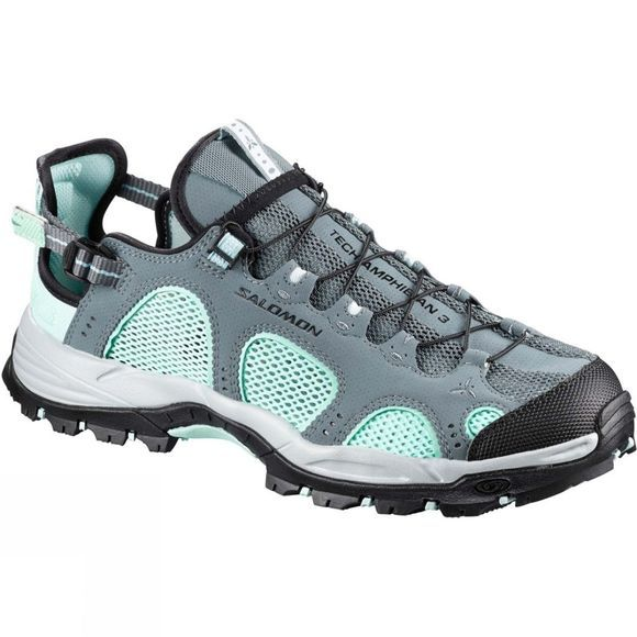 Salomon Womens Techamphibian 3 Shoe Stormy Weather/Eggshell Blue/Black