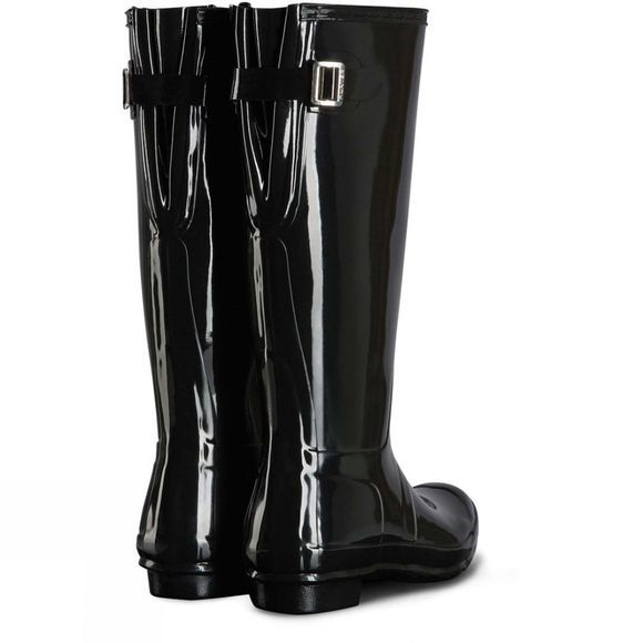 Hunter Womens Original Back Adjustable Gloss Welly Black