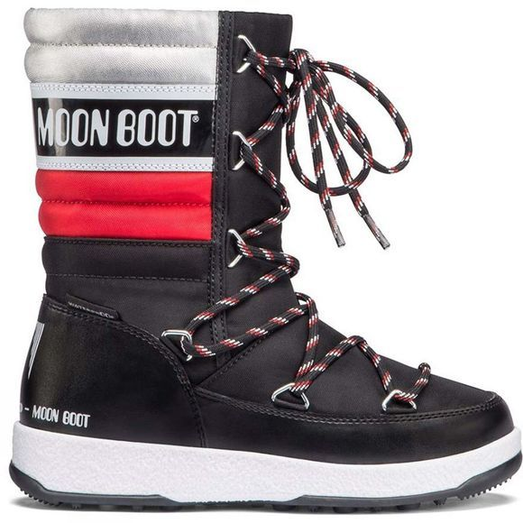 Moon Boots Kid's W.E Quilted JR Snow Boot Black/ Red/ Silver Metallic