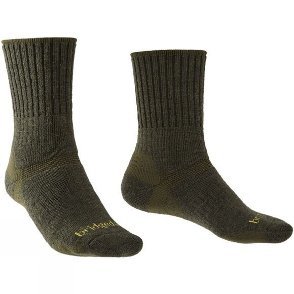 Bridgedale Men's Merino Hiker Sock Olive/Dark Green