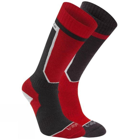 Bridgedale Mens Twin Pack Ski Socks Red/Black